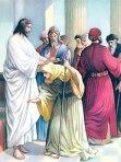Jesus & woman bent double